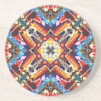 Colorful Tribal Motif Drink Coaster