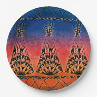 Colorful Tribal Teepees Art Boho Design Paper Plate