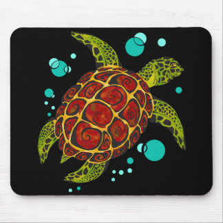Colorful Tribal Turtle Tattoo Mouse Pad