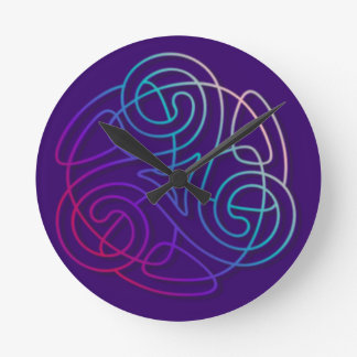 Colorful triskele image round clock