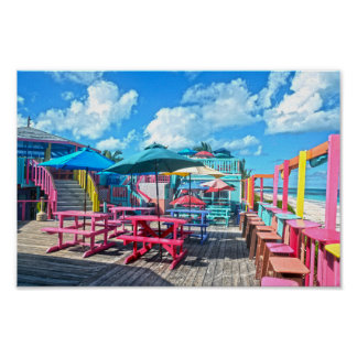 Colorful Tropical Bahamas Bar and Grill Poster