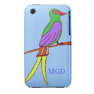Colorful tropical bird with monogram on blue iPhone 3 Case-Mate case