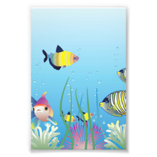 Colorful Tropical Fish & Bubbles Photo Print