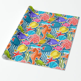 Colorful Tropical Fish Pattern 1 Wrapping Paper