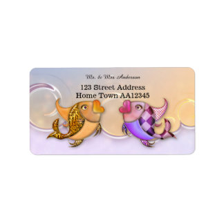 Colorful Tropical Fish Wedding Address Label