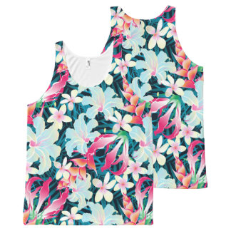 Colorful tropical flowers All-Over print singlet