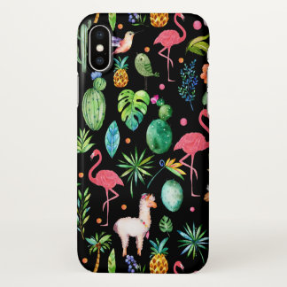 Colorful Tropical Flowers & Birds Pattern iPhone X Case