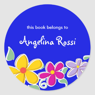 Colorful Tropical Flowers, Bookplates Round Sticker