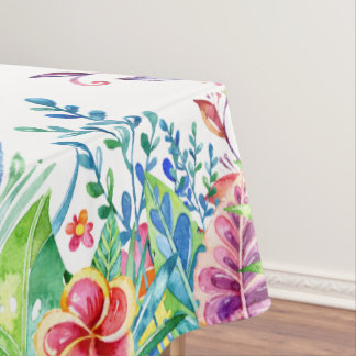 Colorful Tropical Flowers Border Tablecloth