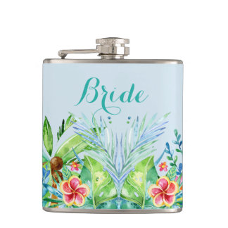 Colorful Tropical Flowers Bride Hip Flask