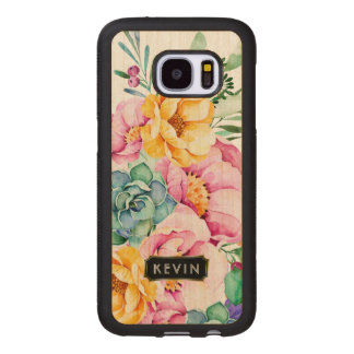 Colorful Tropical Flowers & Cactus Design 4 Wood Samsung Galaxy S7 Case