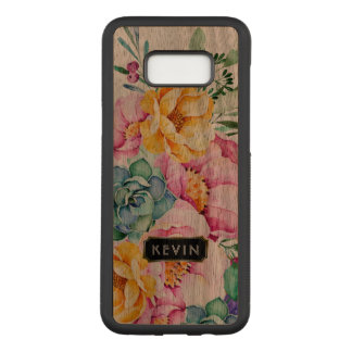 Colorful Tropical Flowers & Cactus Design Carved Samsung Galaxy S8+ Case