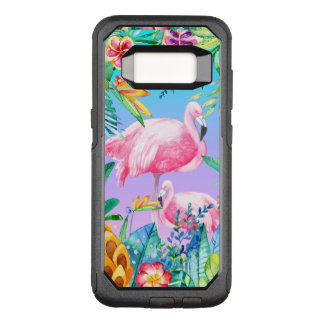 Colorful Tropical Flowers & Flamingos GR2 OtterBox Commuter Samsung Galaxy S8 Case