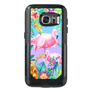 Colorful Tropical Flowers & Flamingos GR2 OtterBox Samsung Galaxy S7 Case