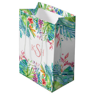 Colorful Tropical Flowers & Leafs Medium Gift Bag