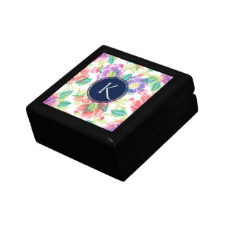Colorful Tropical Flowers Monogram Small Square Gift Box