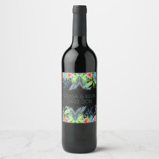 Colorful Tropical Flowers Our Wedding Day Wine Label