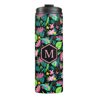 Colorful Tropical Flowers Pattern Thermal Tumbler