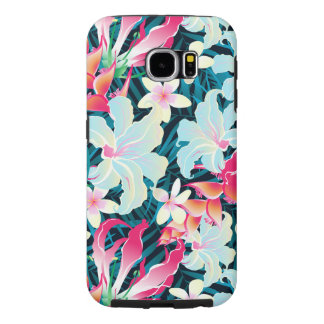 Colorful tropical flowers samsung galaxy s6 cases