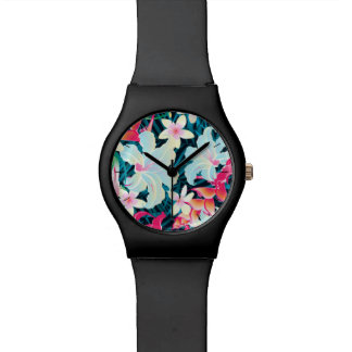 Colorful tropical flowers watch