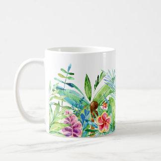 Colorful Tropical Flowers Watercolors Illustration Coffee Mug