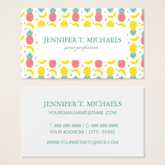 Colorful Tropical Fruit Pattern Business Card