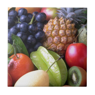 Colorful tropical fruits tiles