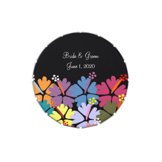 Colorful Tropical Hibiscus Black Wedding Tins Jelly Belly Tin