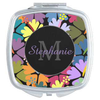 Colorful Tropical Hibiscus Monogram Compact Mirror For Makeup