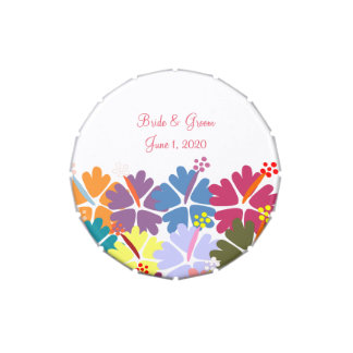 Colorful Tropical Hibiscus White Wedding Tins Candy Tin