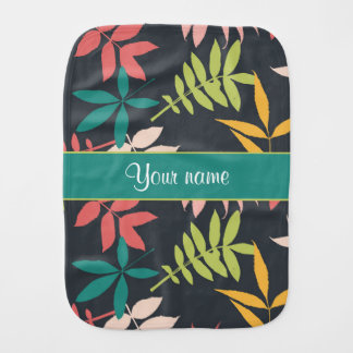 Colorful Tropical Leaves Burp Cloth