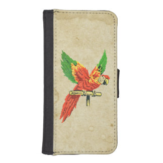 Colorful Tropical Parrot Antique Stained Paper iPhone SE/5/5s Wallet Case