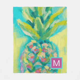 Colorful Tropical Pineapple Fleece Blanket