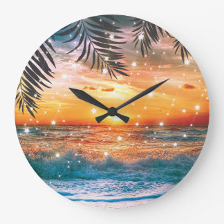 Colorful Tropical Sunset Ocean Beach Large Clock