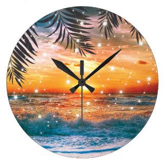 Colorful Tropical Sunset Ocean Beach Wallclocks