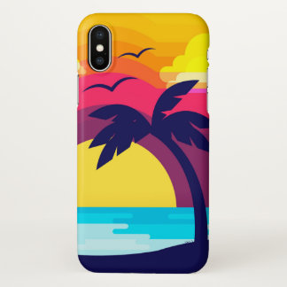 Colorful Tropical Sunset & Palm Tree iPhone X Case