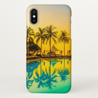 Colorful Tropical Sunset Palm Trees iPhone X Case