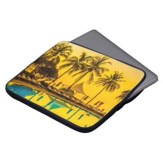 Colorful Tropical Sunset Palm Trees Laptop Sleeve