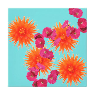 Colorful Tropical Turquoise Orange Pink Flowers Canvas Prints
