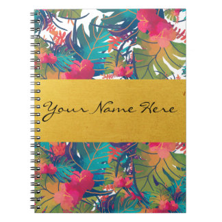 Colorful Tropical Watercolors with Gold Name Strip Notebook