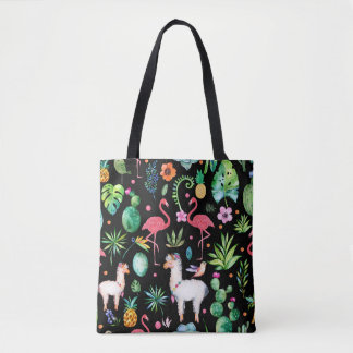Colorful TropicalFlowers Leafs & Animals Pattern Tote Bag