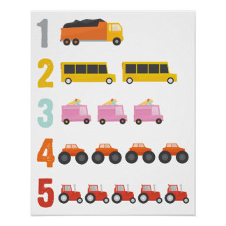 Colorful Trucks Number Nursery Art Poster