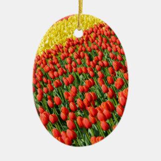 Colorful tulip farm print ornaments