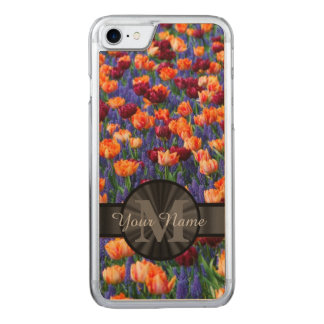 Colorful Tulip field monogrammed Carved iPhone 7 Case
