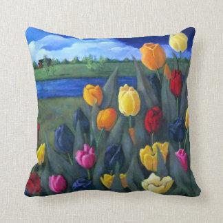 Colorful Tulips: Dutch, Holland: Acrylic Painting Cushion