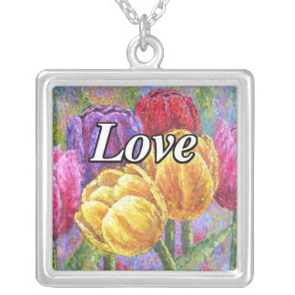 Colorful Tulips Flowers Painting Necklace