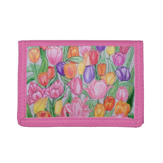 Colorful Tulips Hand Drawn Trifold Wallet Pink