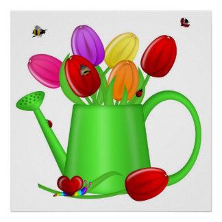 Colorful Tulips with Bees, Ladybugs, Snail Poster