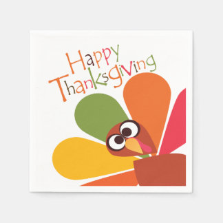 Colorful Turkey Happy Thanksgiving Paper Napkins