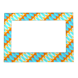 Colorful Turquoise Blue Orange Yellow Pattern Magnetic Picture Frame